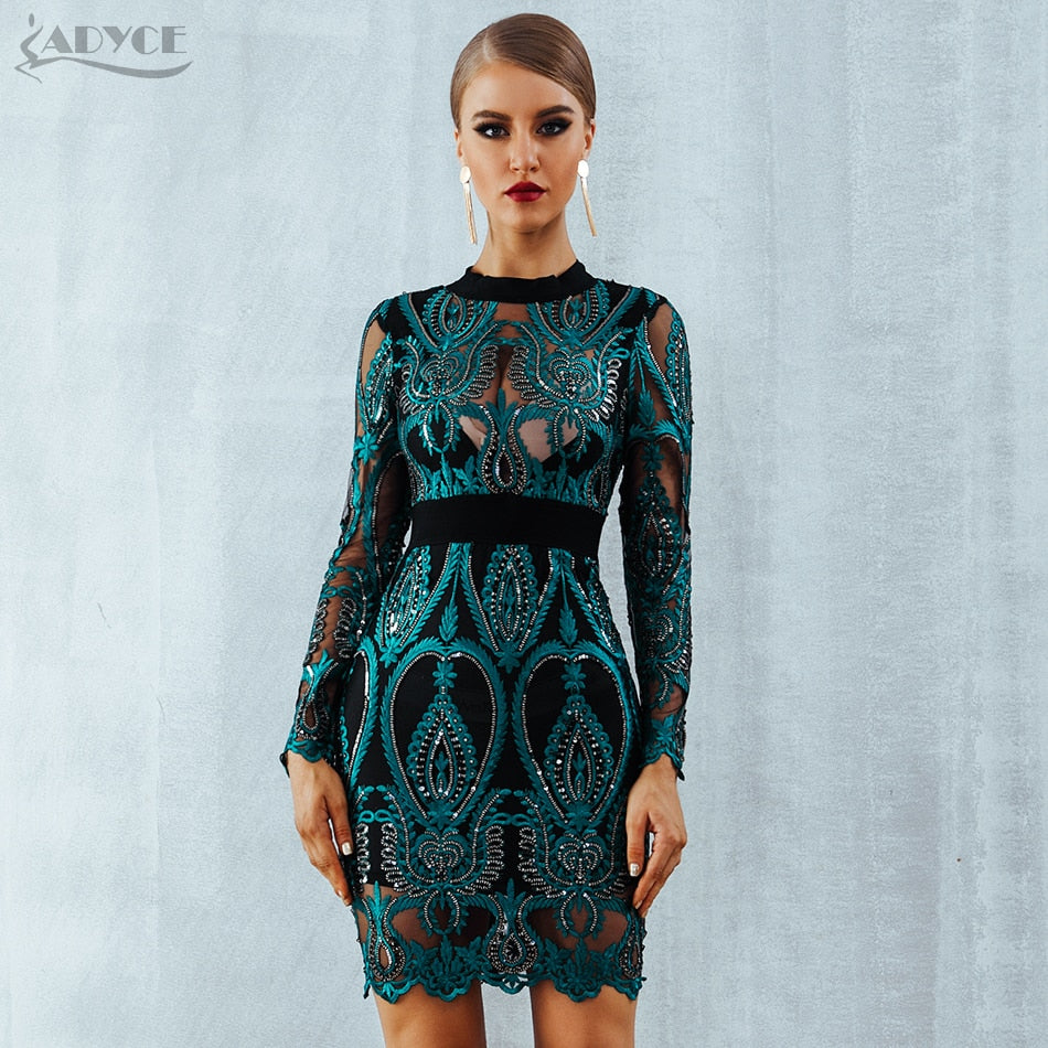 bb34ca190a2b3 ADYCE Celebrity Party Sequin Dress Women 2019 New Long Sleeve Backless Sexy  Mesh Hollow Out Mini Luxurious Club Dresses Vestidos