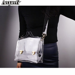 AEQUEEN Women Summer Beach Bag PVC Transparent Shoulder Bag Small Crossbody Messenger Bags Waterproof Clear Handbags Lady Totes
