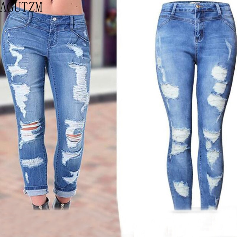 b2622544cc9 Hover to zoom · AGUTZM New Ultra Stretchy Blue Tassel Ripped Jeans Woman  Denim Pants Trousers For Women Pencil Skinny