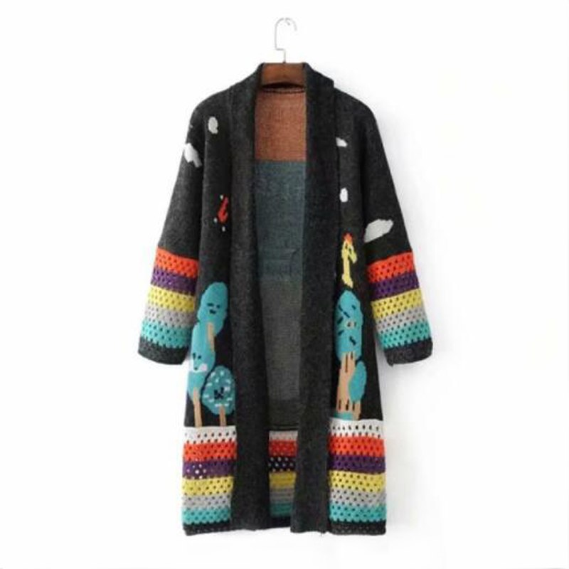 6d1c8fa9aeb0 ... AGUTZM cardigan feminino 2018 Autumn Winter Long Cardigans Knitted Coat Women  Cute Long Poncho Sweaters Crochet ...