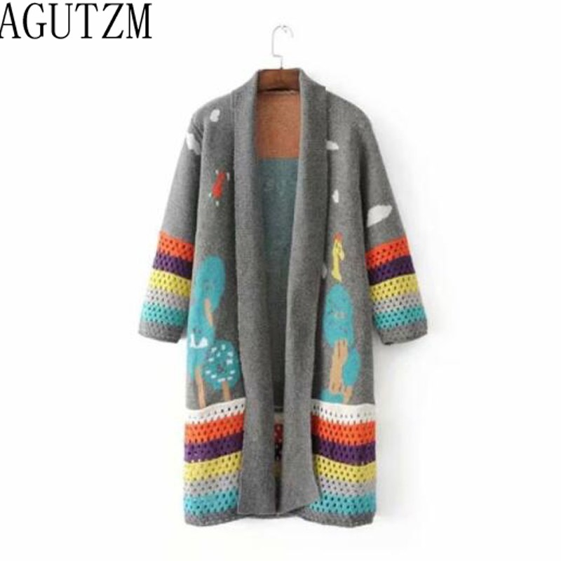2d189268fcd4 ... AGUTZM cardigan feminino 2018 Autumn Winter Long Cardigans Knitted Coat Women  Cute Long Poncho Sweaters Crochet
