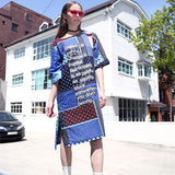 [AIGYPTOS-SHT] National Trend Color Block Patchwork Letter Print Placketing Causal Loose Cotton Linen Medium-Long Dress