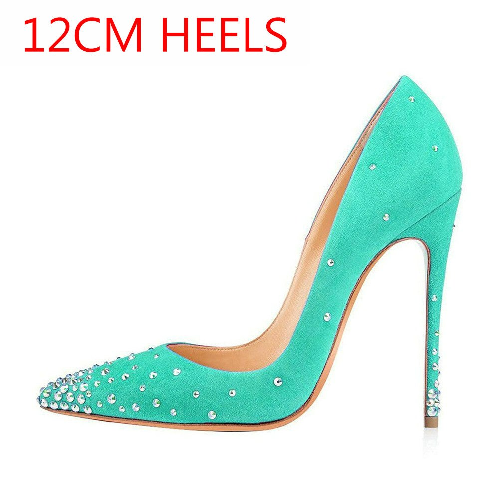 8c0feb0a138 AIWEIYi Women Pumps Fashion Pointed Toe Stiletto High Heels Shoes Rivets  Slip On Spring Summer Wedding Shoes Woman High Heels 1