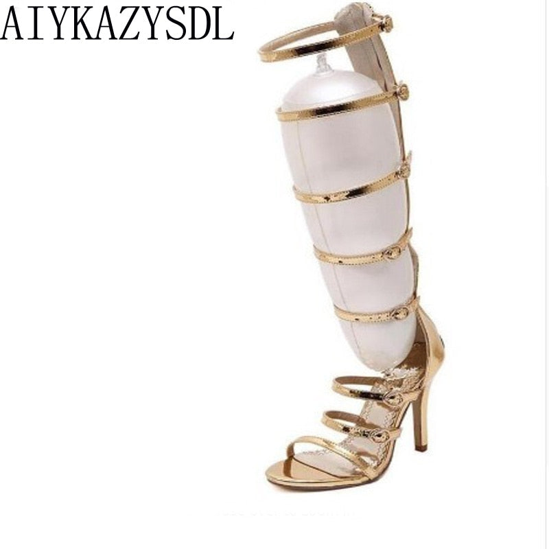 6791bac039bb Hover to zoom · AIYKAZYSDL 2017 Wedding party bridal Women knee high summer  boots strappy gladiator roman sandals ...