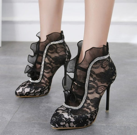 AIYKAZYSDL Spring Autumn Women Crystal Rhinestone Ankle Boots Pleated Ruffle Lace Short Boots Bootie Stilettos High Heels 2018