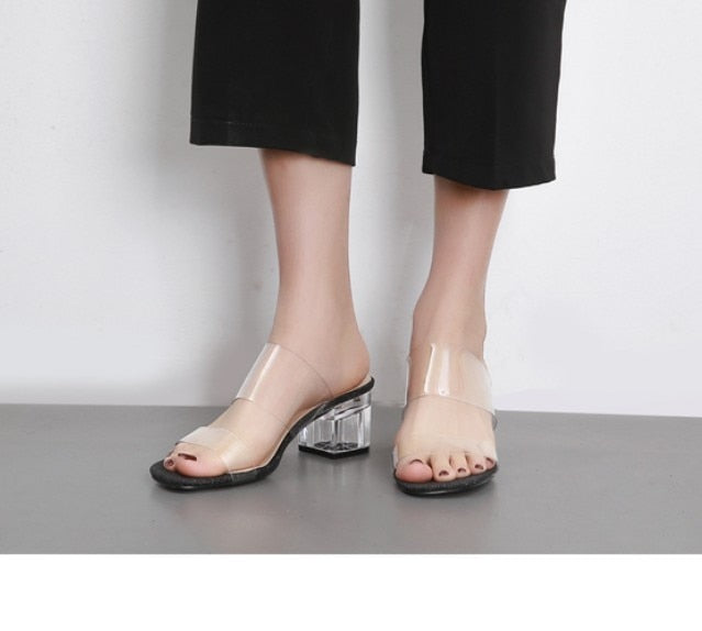 597665c0e93 AIYKAZYSDL Women Crystal Sandals Plastic Transparent Clear Slippers Open Square  Toe Mule Slides Thick Block High. Hover to zoom