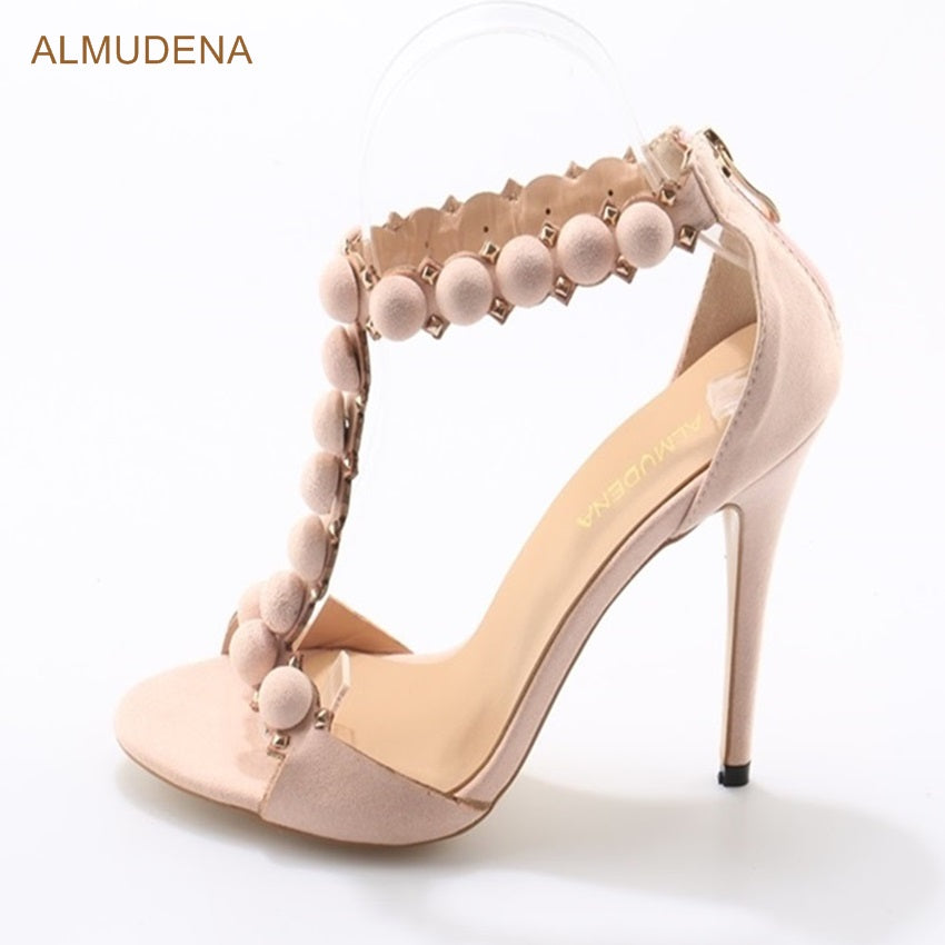 4ee2a3122c Elegant Nude Suede T-bar Studded Sandals Thin High Heels Round Shape ...