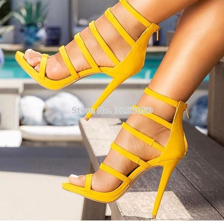 2f4ca119e7 Hover to zoom · Yellow Suede Sexy Strappy Sandals Covered Heel Back Zipper  Dress High Heel Shoes Nightclub Gladiator Pumps