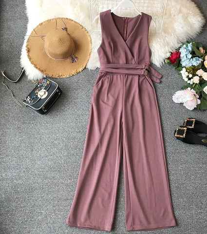 ALPHALMODA 2019 Spring Ladies Sleeveless Solid Jumpsuits V-neck High Waist Sashes Women Casual Wide Leg Rompers