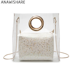 ANAWISHARE Summer Women Handbags Transparent Jelly Shoulder Bags Chain Crossbody Bags Female Tote Beach Bags Bolsa Feminina