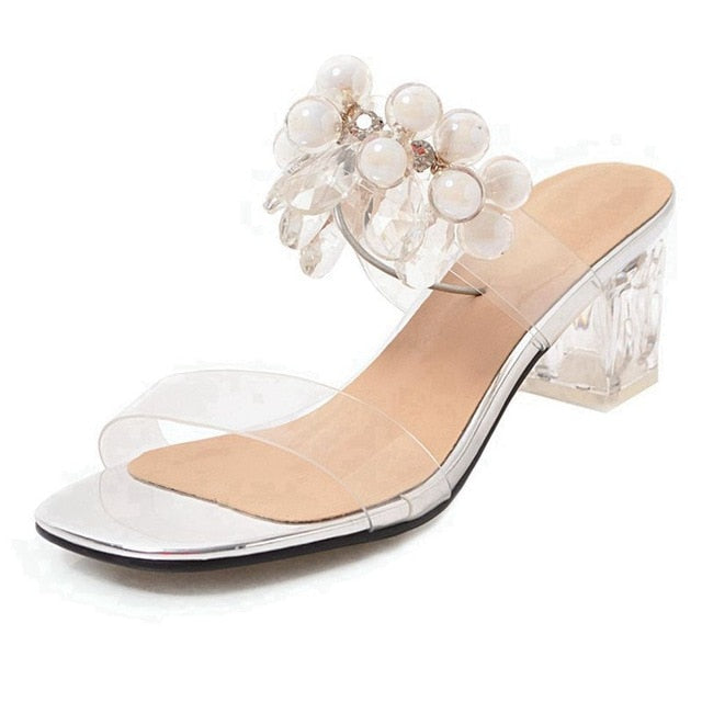 db9a9cc3aed ASILETO Women jelly Sandals Plastic Transparent Slippers Clear heels Mule  Slides Block High Heels summer Shoes rhinestones