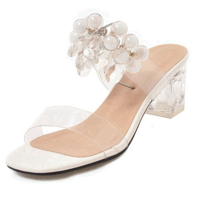 950cf463eb6 ASILETO Women jelly Sandals Plastic Transparent Slippers Clear heels Mule  Slides Block High Heels summer Shoes rhinestones