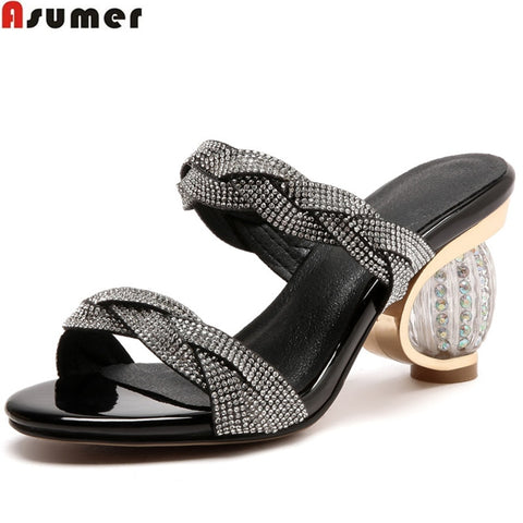 ASUMER 2018 fashion summer new arrival shoes woman big size 33-43 casual mules shoes Rhinestone elegant slippers prom shoes