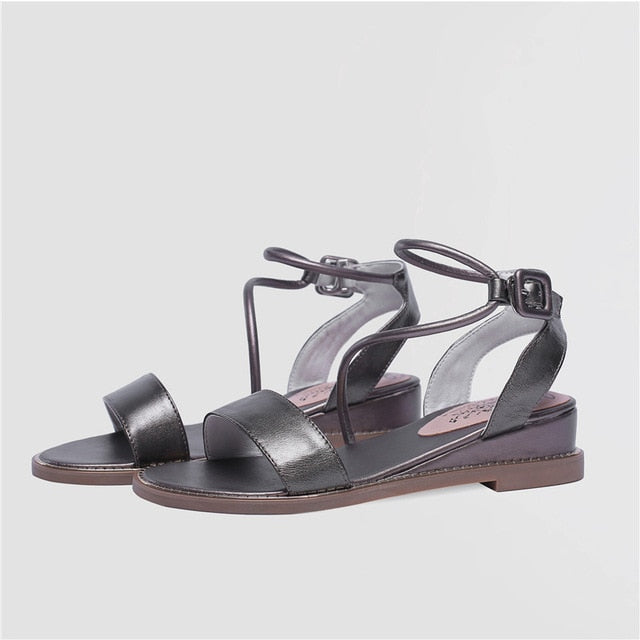 f25db3083a205 Hover to zoom · ASUMER 2019 hot sale new shoes woman buckle sandals women  wedges shoes low heels genuine leather