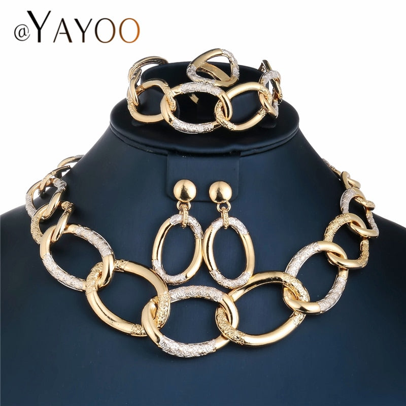 4e656eb0c1e ... Gold Color Nigerian Wedding Jewelry Set For Women Imitation Crystal  African Beads. Hover to zoom