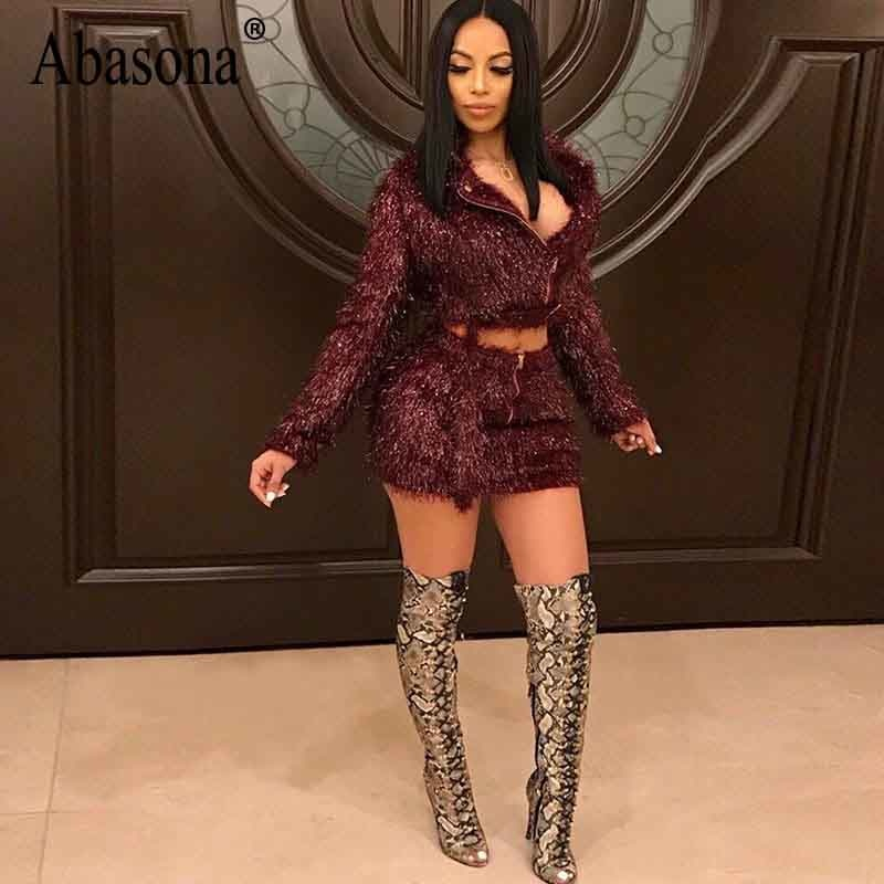 85feda689e ... Abasona Autumn Winter Women Dresses Sexy Women Two Piece Outfits Zipper  Sashes Long Sleeve Dress Flash