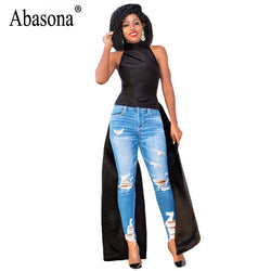 Abasona Black Red Women Shirt Dress Summer Sleeveless Dovetail Dresses Female Casual Streetwear Women Long Dress 2018