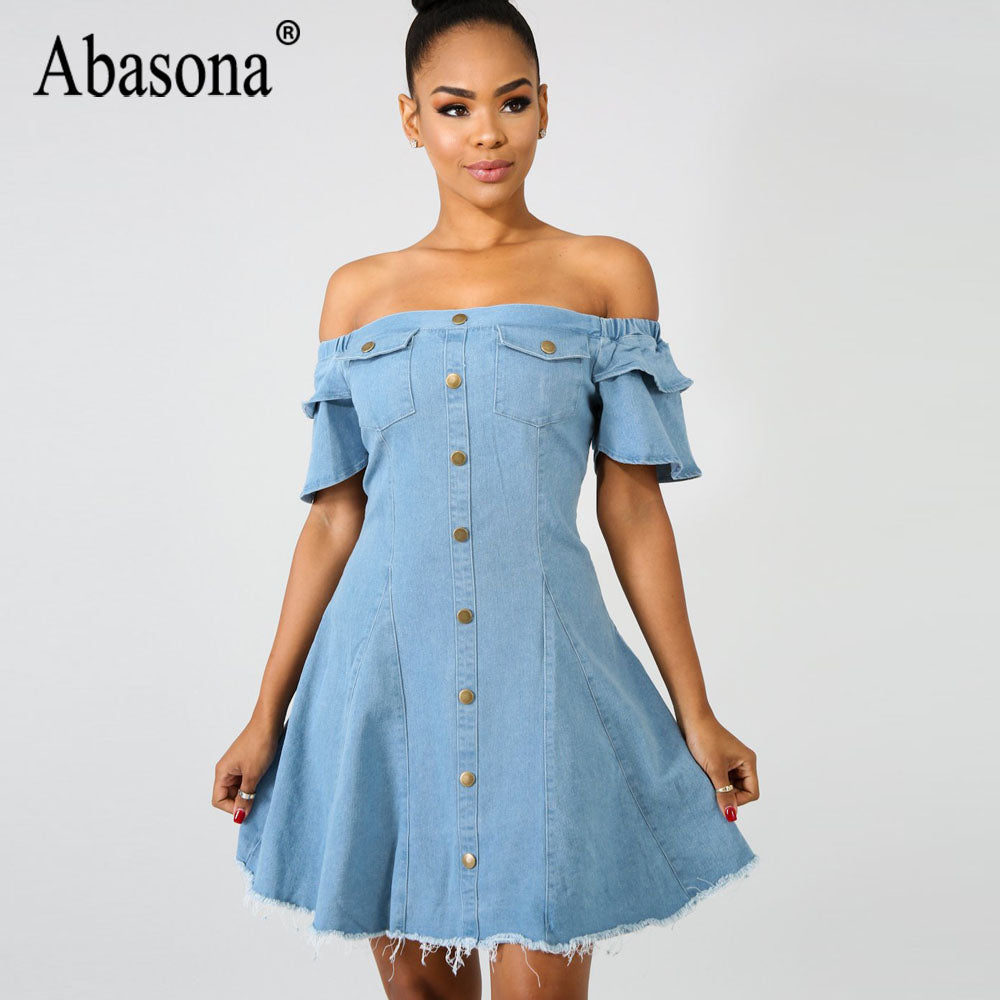 67fdffce9d Abasona Fashion Off the Shoulder Casual Mini Destroyed Denim Party Dresses  Loose Short Sleeve Bodycon Dress ...