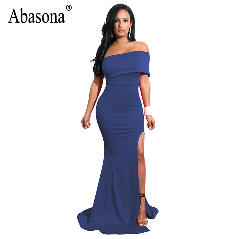 53bcdfc25a73 ... Off Shoulder Dress Elegant Ladies High Split Ruffles Evening Party.  Hover to zoom