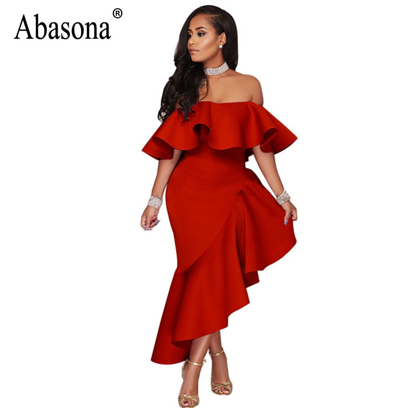 9ee49bbe54ab Hover to zoom · Abasona Off The Shoulder Dress Women Evening Party Bodycon  Ruffled ...