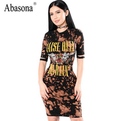 cfa0777f00 Abasona Punk rock letters print sexy bodycon dress Short sleeve vintage party  dresses Fashion women summer ...