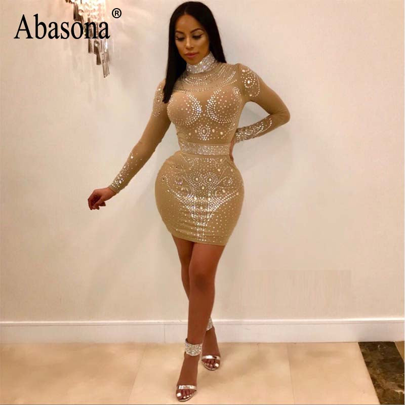 2648beb7d13 Hover to zoom · Abasona Spring Women Rhinestone Dresses Sexy Party Club Sparkle  Dress Long Sleeve Hollow Out Bodycon Pencil