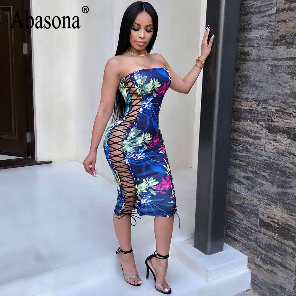 682910cfbe1c ... Abasona Strapless Sleeveless Lace Up Split Side Women Summer Dresses  2018 Sexy Party Night Club Bodycon ...