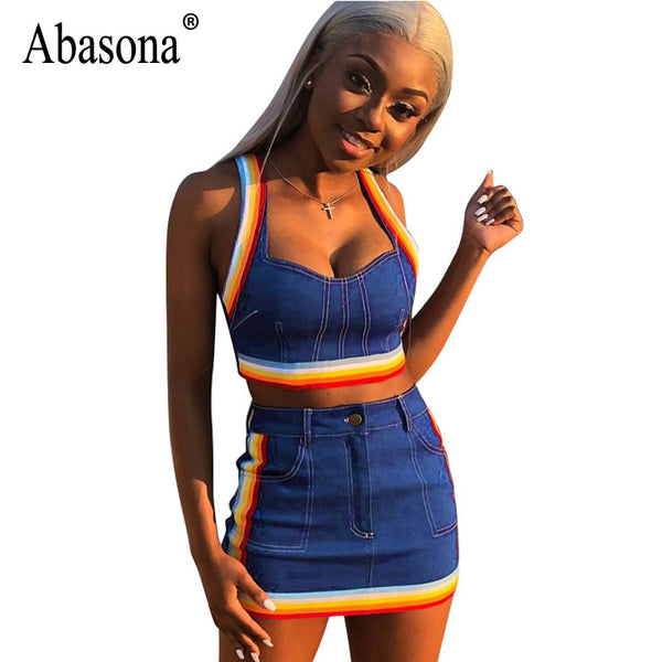 Abasona Summer Sexy 2 Piece Set Denim Dress Women Spaghetti Strap Blue Midi Dress Casual Bodycon Club Party Dresses Female