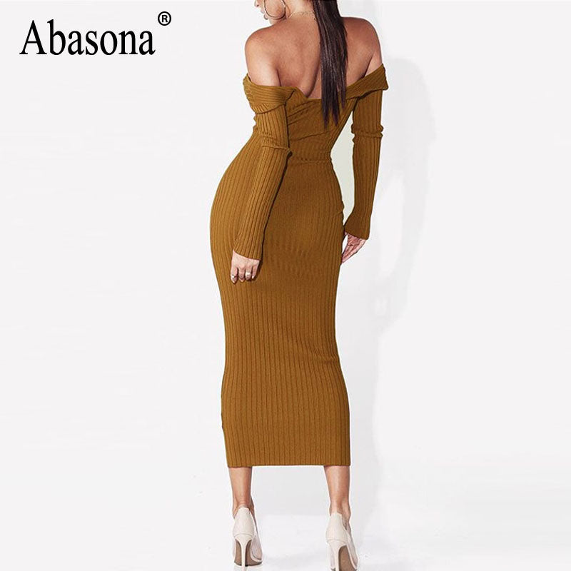 6611b73e4aa6 Abasona Women Autumn Winter Dresses Long Sleeve Sexy Knitted Women ...
