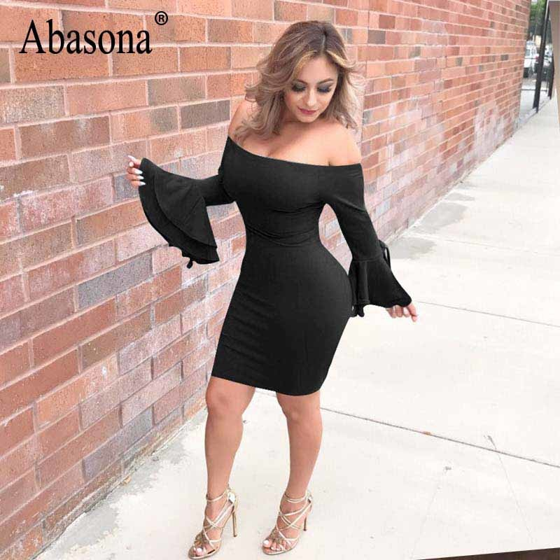 b3cdfc9dba3c ... Abasona Women Dresses Off Shoulder Ruffles Party Dresses Elegant Ladies  Flare Sleeve Tie Up Short Bodycon