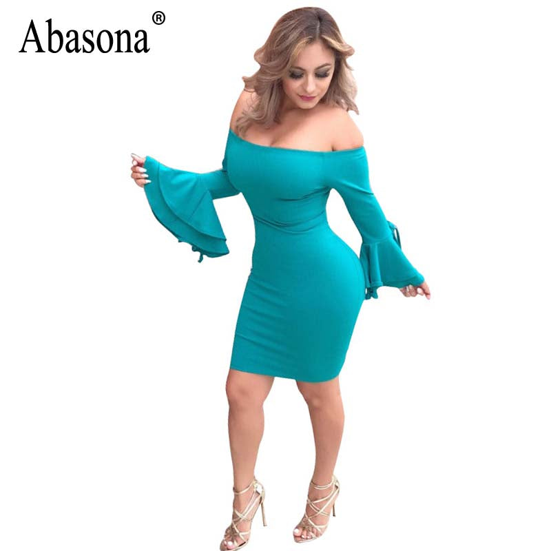 a8be18ac6280 ... Abasona Women Dresses Off Shoulder Ruffles Party Dresses Elegant Ladies  Flare Sleeve Tie Up Short Bodycon ...