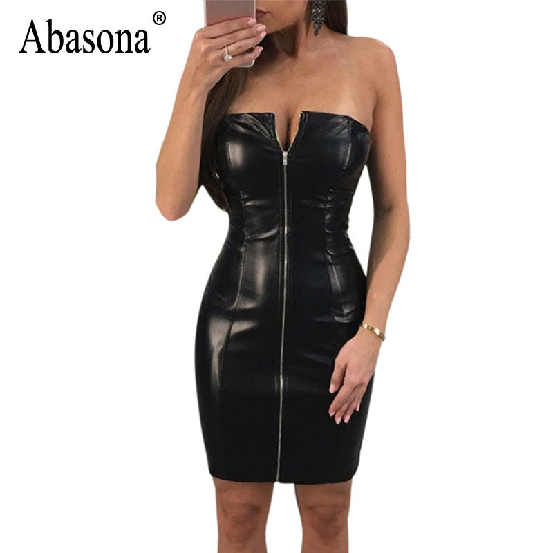 687938a65634 Abasona Women Faux Leather Dress Front Zipper Sleeveless Off ...