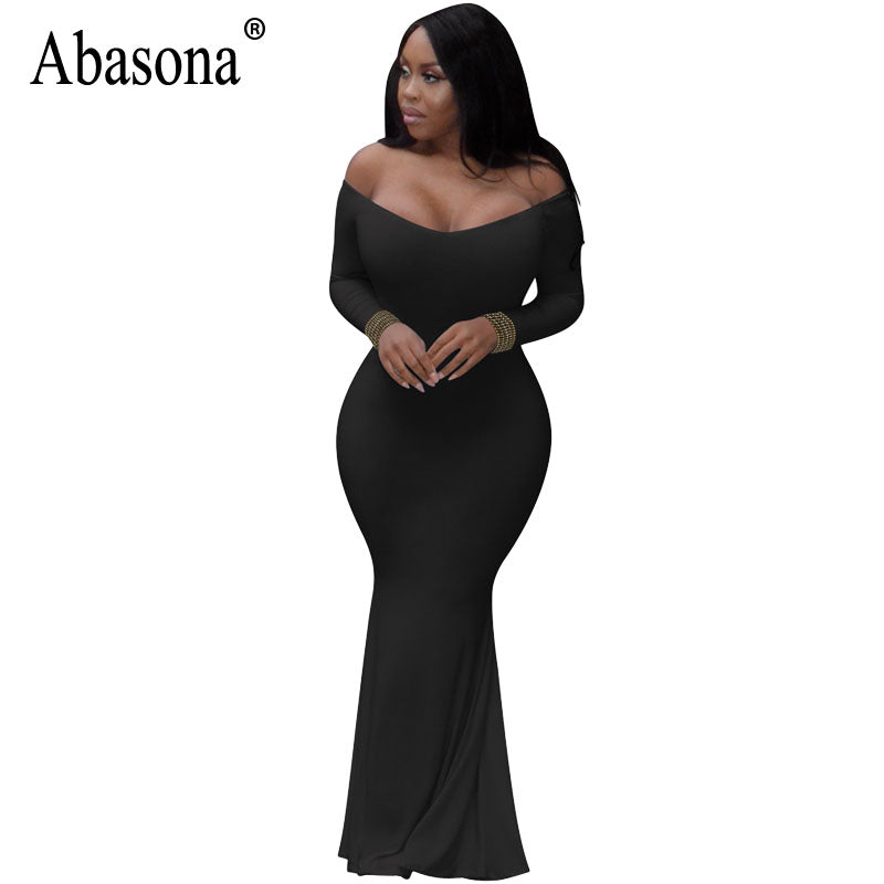 d0a744f9f Abasona Women Long Maxi Dress 2018 Off Shoulder Dress Black White Bodycon  Casual Skinny Long Sleeve. Hover to zoom