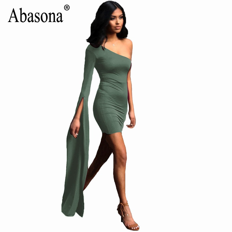 8051cdd3bc7 Hover to zoom · Abasona Women One Shoulder Dress Skinny Split Flare Sleeve  Evening Party Dresses Sexy Club ...