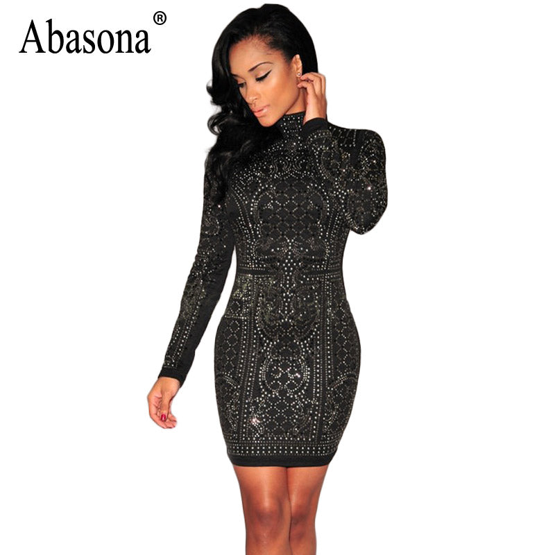 f42572128563 Hover to zoom · Abasona Women Rhinestone Dress Black Vintage Pattern Bodycon  Dress Casual Women Long Sleeve Party Dresses Spring