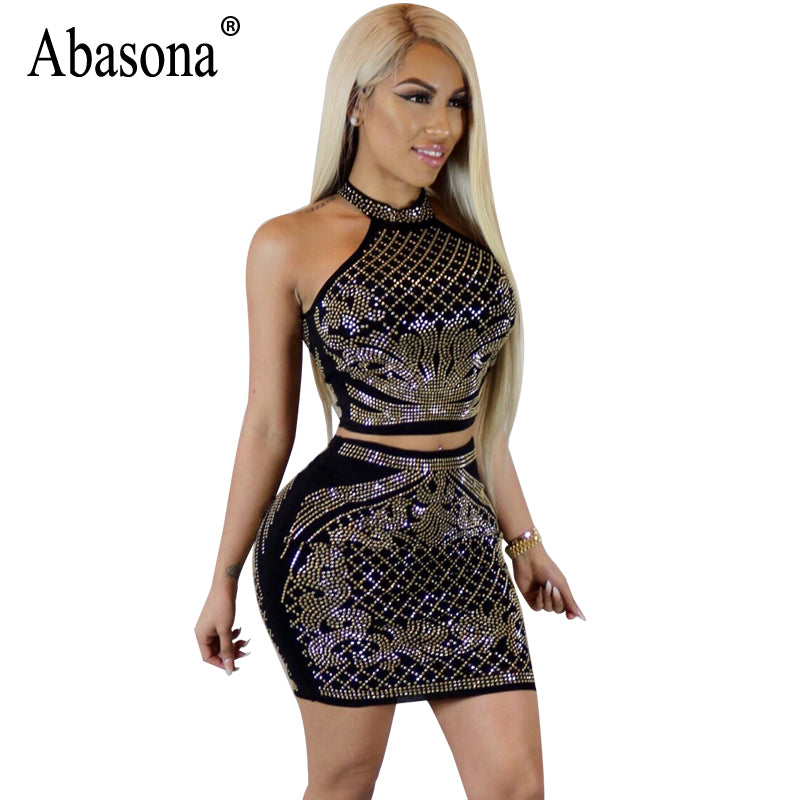 Abasona Women Rhinestone Dress Sexy Two Piece Set Summer Sleeveless Mini  Halter Dress Ladies Evening Party ... 17884defd157