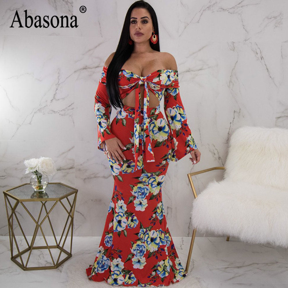 75ae08aad3 Hover to zoom · Abasona Women's Summer Floral Fishtail Dress Sexy Strapless  Wrap Front ...