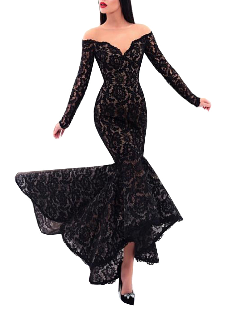 107467831113 Hover to zoom. PrevNext. Image of Abendkleide Sexy Black Lace Evening Dress  Long Sleeves 2018 Mermaid Sheer ...