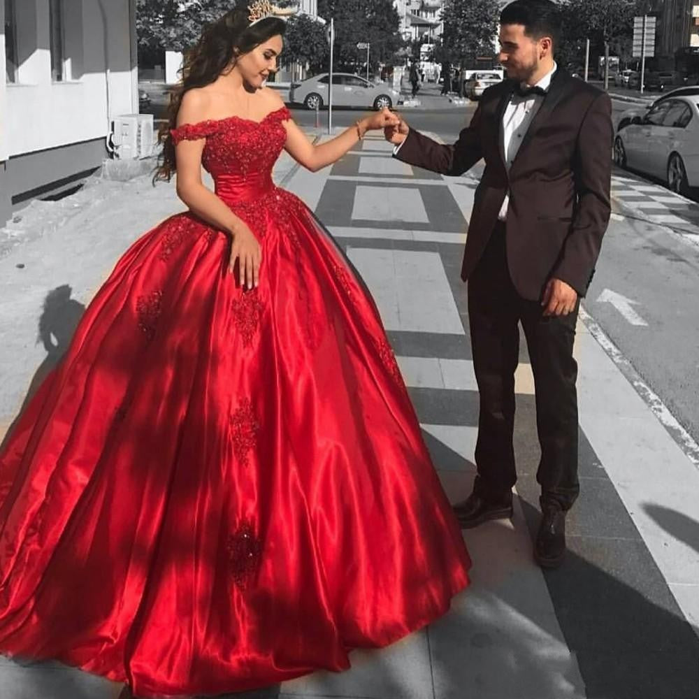 Middle East Red Puffy Ball Gowns Appliques Lave Floor Length Formal ...