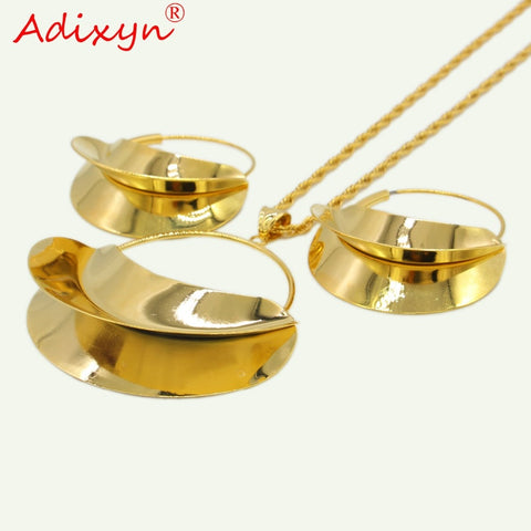 Image of Adixyn PNG Hyperbole Bag Necklace/Earrings/Pendant Jewelry Set For Women Gold Color/Copper African/Ethiopian Party Gifts N11012