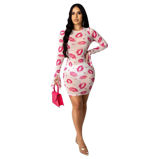 Adogirl 2020 New Summer Women Sheer Mesh Red Lips Print Sexy Club Dress Long Sleeve Round Neck See Through Short Bodycon Dress