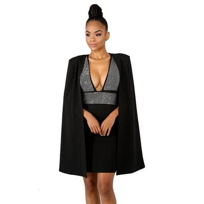 c270ba49c ... Neck Bodycon Dress with Cloak Women Sleeveless Mini Club Party Dresses.  Hover to zoom