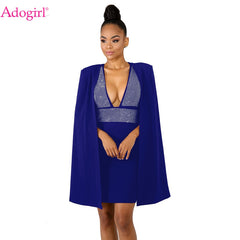 653fff26 Adogirl Diamonds Sexy Deep V Neck Bodycon Dress with Cloak Women Sleeveless  Mini Club Party Dresses ...