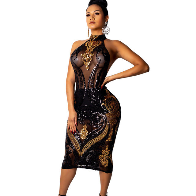 cb32afc0 Hover to zoom. PrevNext. Image of Adogirl Gold Black Sequins Sheer Mesh  Bodycon Dress ...