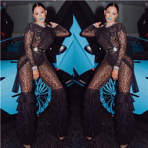 560b81af8377 ... Adogirl Layered Ruffle Fashion Lace Jumpsuit Women Romper O Neck Long  Sleeve Backless Sexy Night Club ...