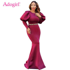 989486b2d8d43 Adogirl Long Puff Sleeve Mermaid Party Dress Elegant Scuba Bodycon Maxi  Evening Gown Solid 3 Colors ...