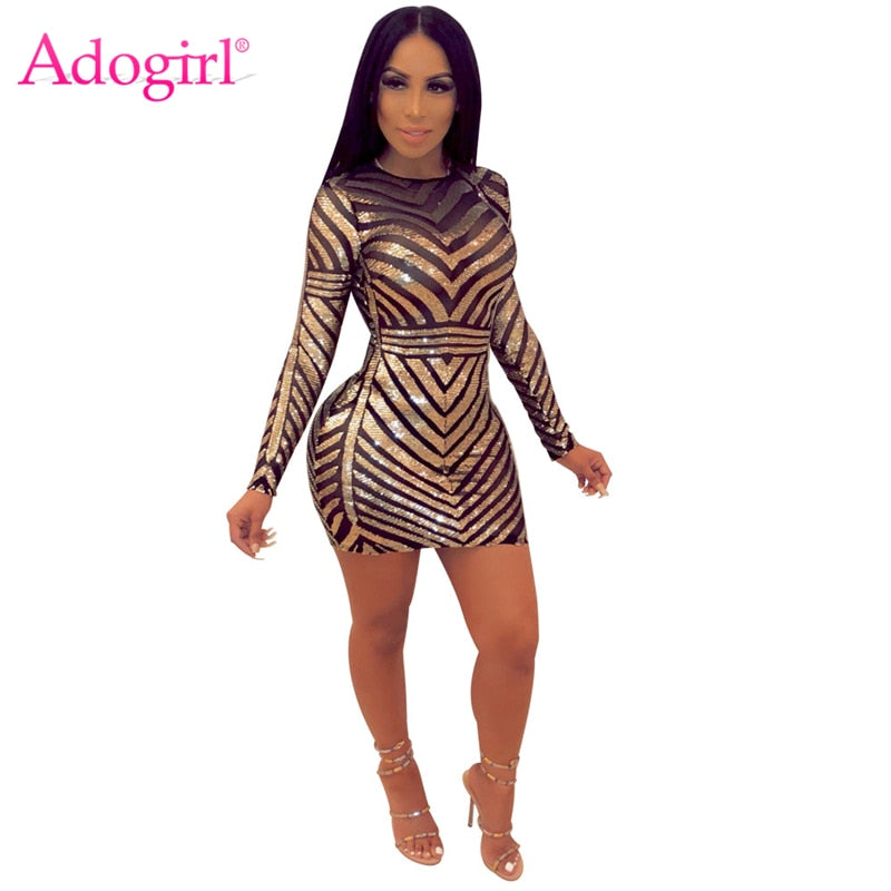 9a1b68c7d85 Adogirl Sequins Sheer Mesh Backless Bodycon Club Dress O Neck Long Sleeve  Sheath Mini Evening Party