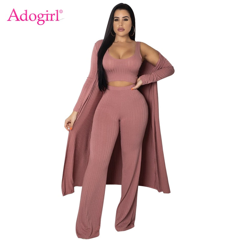 6438731d60a22 Adogirl Women Fashion Casual 3 Piece Set Full Sleeve Long Cardigan Coat +  Tank Top + Pants Ribbed Knitted Suits Female Outfits