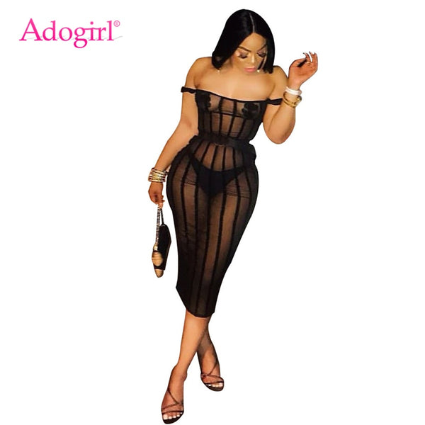 Adogirl Women Sexy Stripe Sheer Mesh Bodycon Club Dress with Pasties Slash Neck Off Shoulder Sheath Midi Party Summer Dress