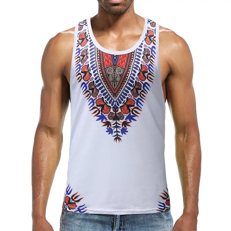 56e828363 Adult Men Casual African Dashiki Slim Tank Tops Sleeveless T-shirt Fitness  Undershirt White Vest. Hover to zoom